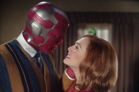 "Elizabeth Olsen as Wanda Maximoff and Paul Bettany as Vision star in the Disney+ series ""WandaV ..."