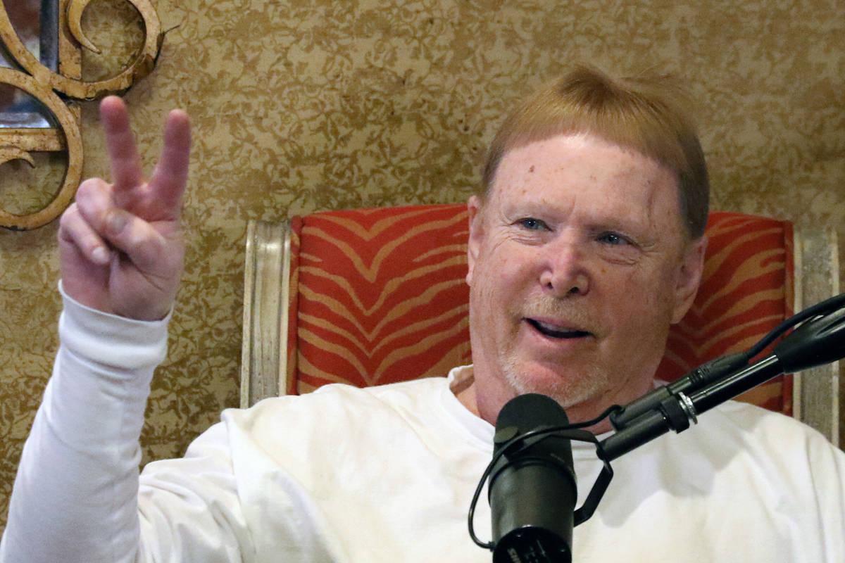 The Las Vegas Raiders owner Mark Davis speaks during his podcast with John Katsilometes on Mond ...