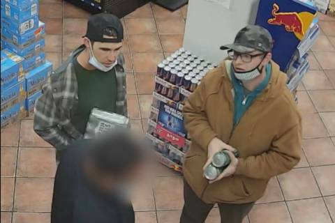Police detectives in Laughlin need help identifying two men suspected of a strong-arm robbery o ...