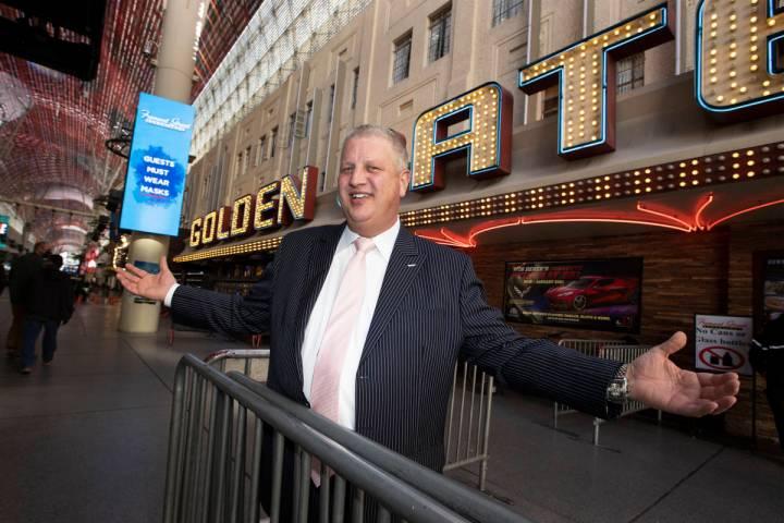 Casino owner Derek Stevens poses for a portrait in front of the Golden Gate hotel-casino in Las ...