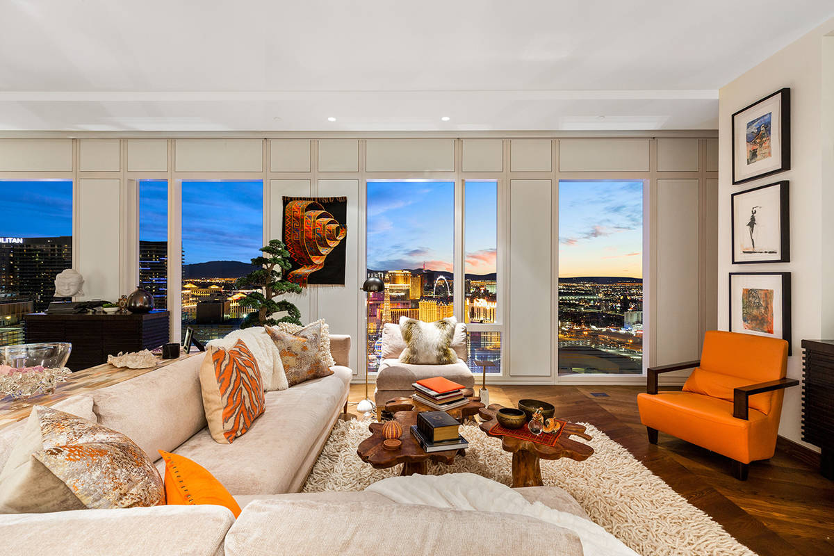 The Waldorf Astoria penthouse has sweeping views of the North Las Vegas Strip and the entire La ...