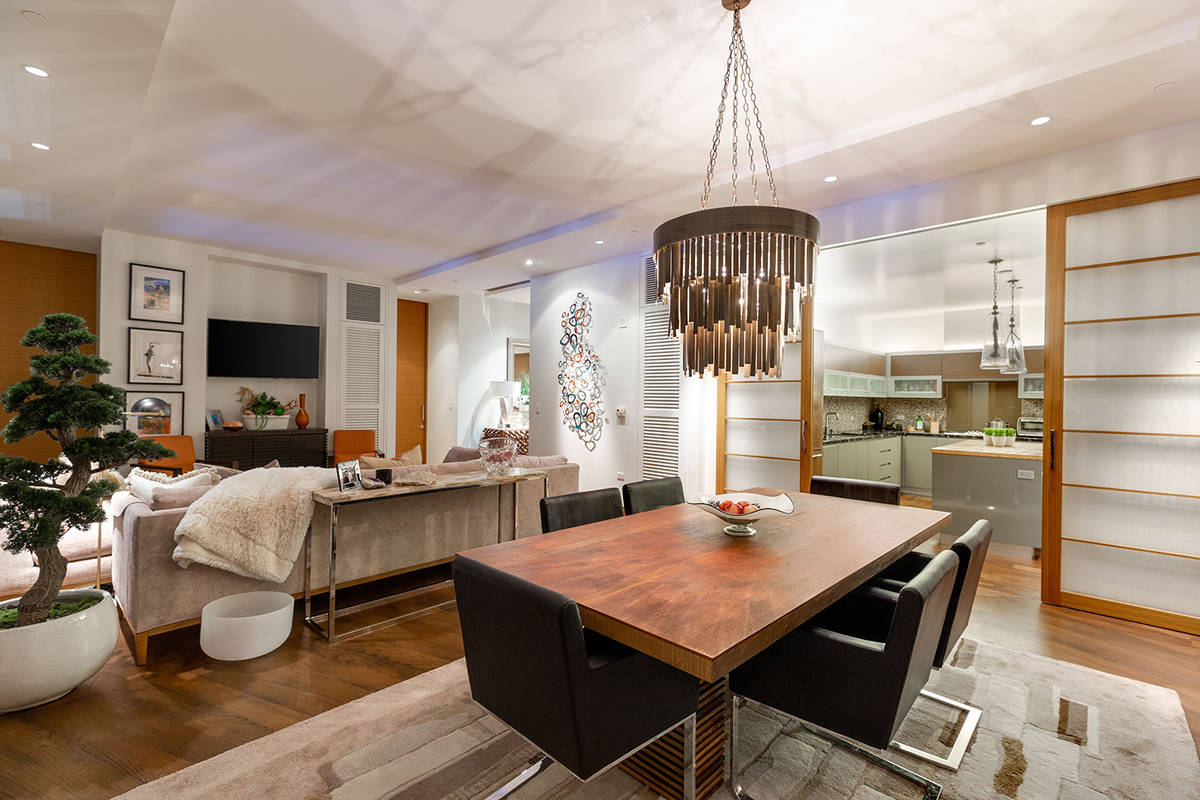 BHHS Nevada The 2,756-square-foot Waldorf Astoria penthouse has its kitchen and dining area nea ...