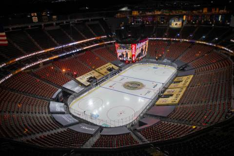 A look at T-Mobile Arena during an intermission of an NHL season-opening game between the Vegas ...