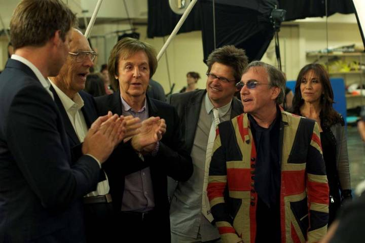 Cirque du Soleil CEO Daniel Lamarre is shown with (from left), Giles Martin, George Martin, Pau ...