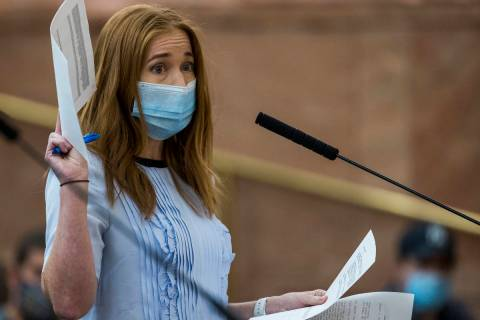 Owner Kristen Corral of Tacotarian, seen here in August speaking to the Clark County Board of C ...