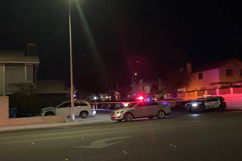 Police investigate a homicide Wednesday, Dec. 30, 2020, on the 8100 block of Spur Court in Las ...