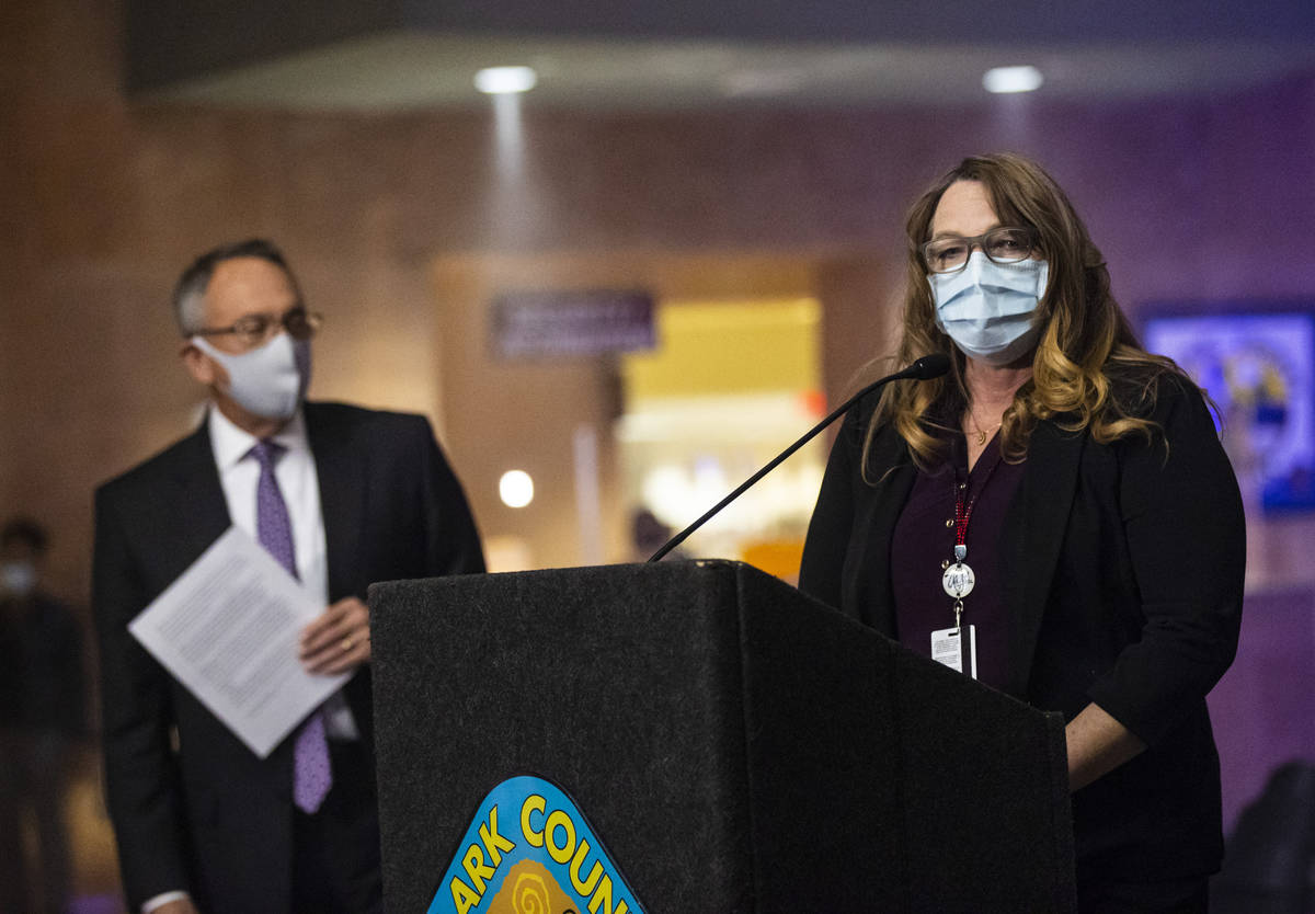 Clark County Commission Chairwoman Marilyn Kirkpatrick speaks before an illumination of 29 ligh ...