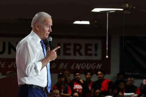 President Joe Biden. (Bizuayehu Tesfaye/Las Vegas Review-Journal) @bizutesfaye