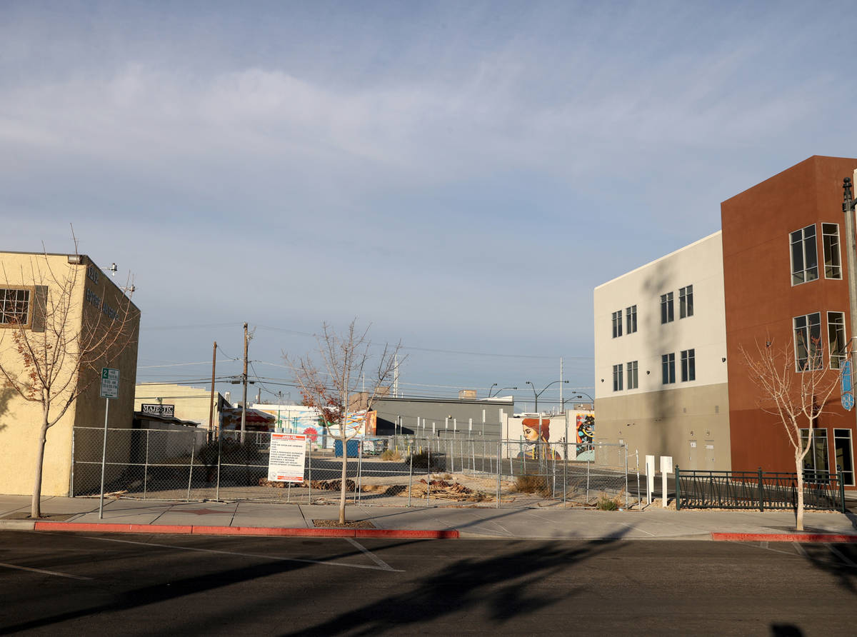 A vacant lot at 1208 S. Casino Center Blvd., south of Charleston Boulevard, in downtown Las Veg ...