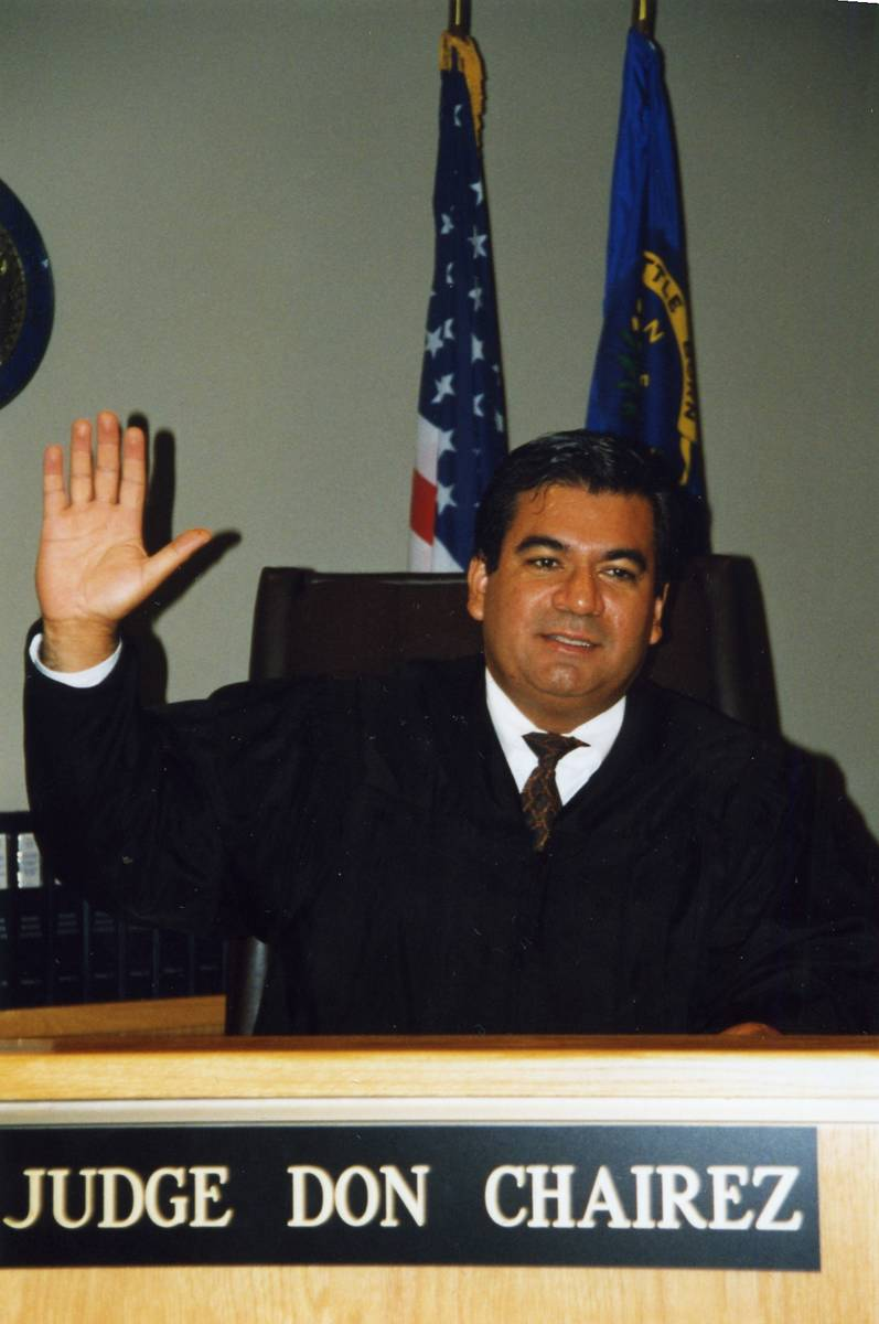 A photo of Judge Don Chairez the day he was sworn in and appointed to Clark County District Cou ...
