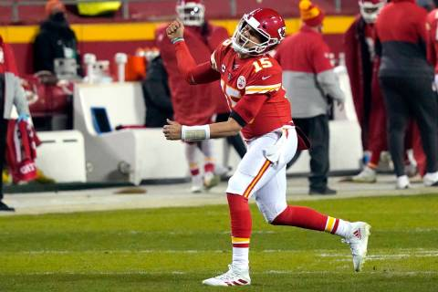 Kansas City Chiefs quarterback Patrick Mahomes celebrates after throwing a 5-yard touchdown pas ...