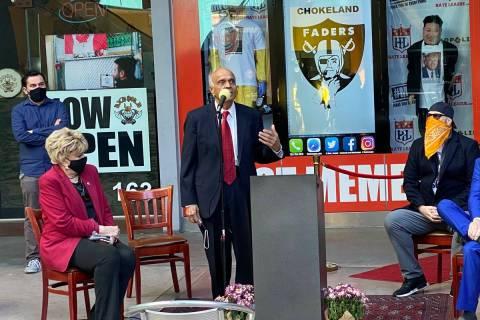Las Vegas Mayor Carolyn Goodman, Neonopolis owner Rohit Joshi and Hate League owner Tim Tempas ...