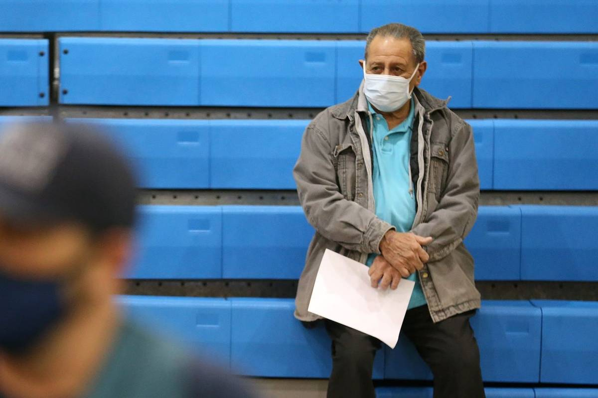 Richard Martinez, 73, is monitored after receiving the COVID-19 vaccine at the Neighborhood Rec ...