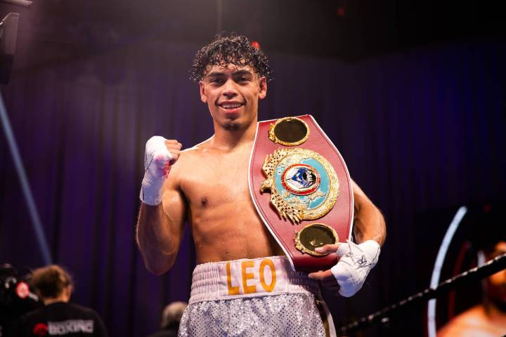 Angelo Leo poses for a photo after winning the WBO junior featherweight champion on Aug. 1, 202 ...