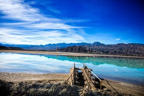 A lithium brining pond near Silver Peak, in Esmeralda County, is seen in 2015. (Las Vegas Revie ...