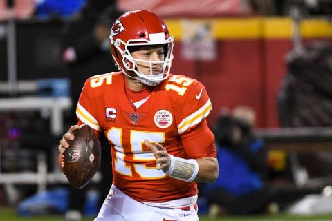 Kansas City Chiefs quarterback Patrick Mahomes during the first half of the NFL AFC championshi ...