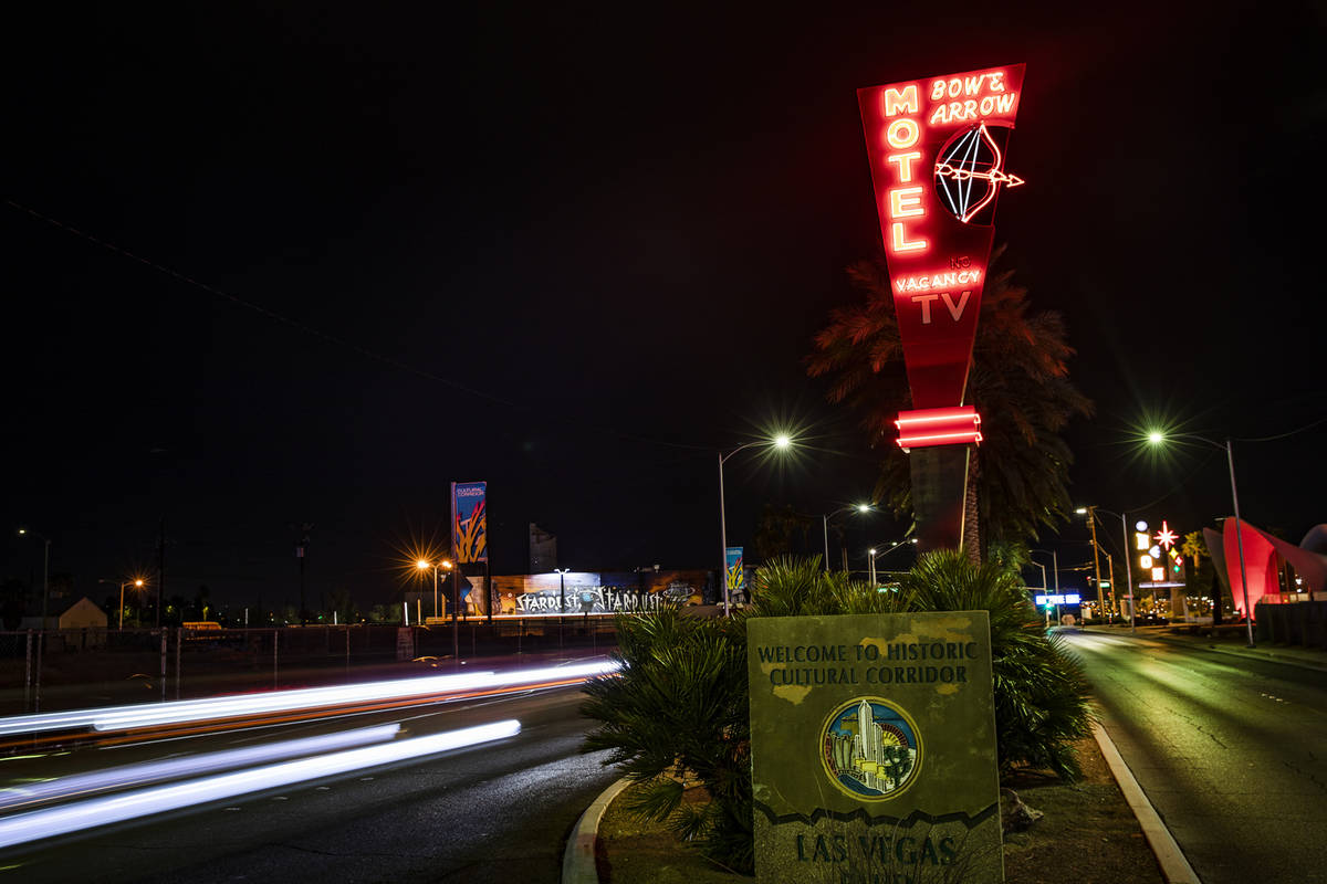 The restored neon sign from the Bow & Arrow Motel on Las Vegas Boulevard in Las Vegas, Thur ...