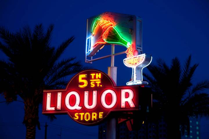 The neon sign from 5th Street Liquor Store is one of the signs restored by the Neon Museum, whi ...