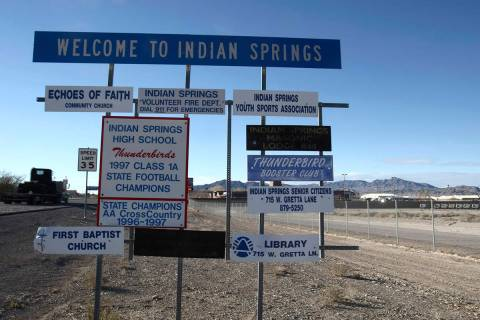 A sign along U.S. Highway 95 welcomes travelers to Indian Springs. (Las Vegas Review-Journal file)