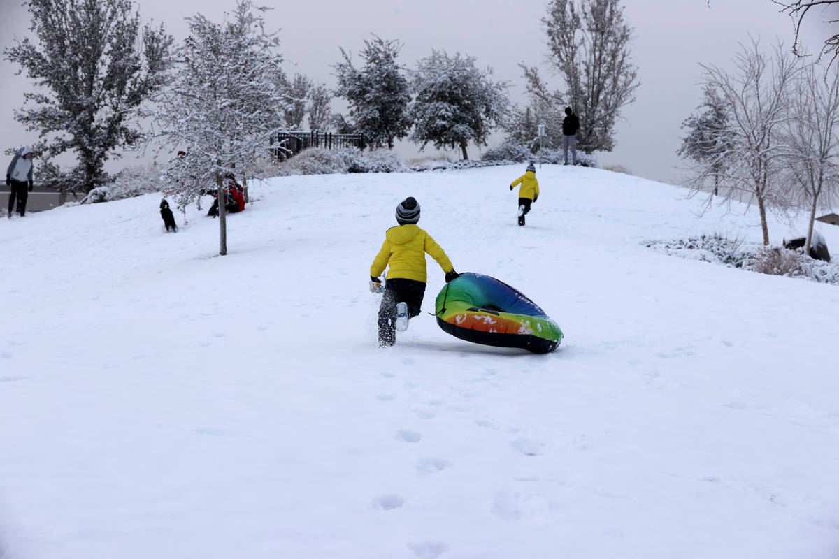 Colton Tarantino, 5, left, and his brother Nicholas, 7, play in the snow at Fox Hill Park in Su ...