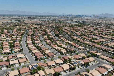 An aerial view of homes in Nevada Trails, a housing development near West Windmill Lane and Sou ...