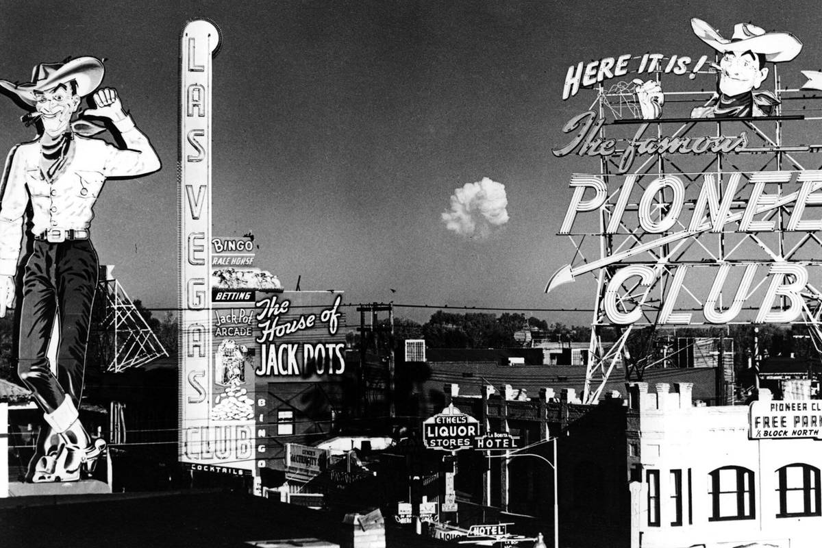 The mushroom cloud hovering over the southern Nevada desert in November 1951 was the remains of ...