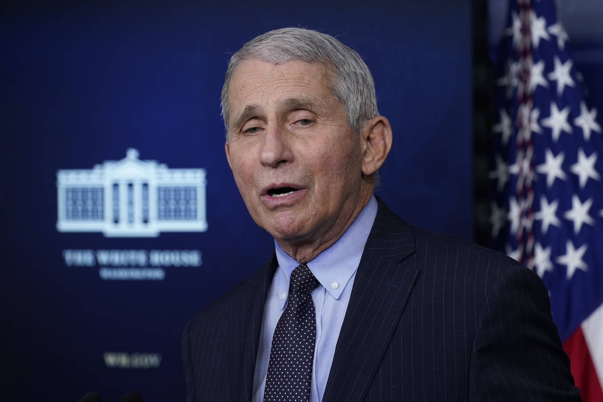 In a Jan. 21, 2021, photo, Dr. Anthony Fauci, director of the National Institute of Allergy and ...