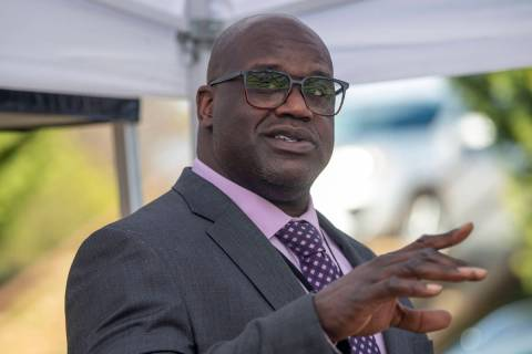 Basketball Hall of Famer Shaquille O'Neal speaks at a press conference in McDonough, Ga., Frida ...