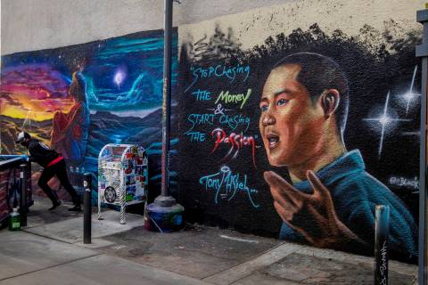 A mural dedicated to Tony Hsieh in the DT Alley near Fremont and Sixth streets in downtown Las ...