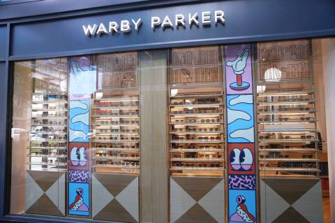 Glasses on display at the Warby Parker store in Downtown Summerlin in this Nov. 14, 2019, file ...