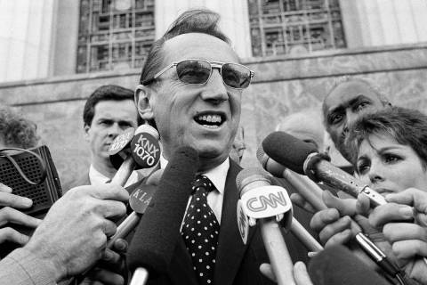 Los Angeles Raiders' owner Al Davis speaks to the media after a Federal Court jury ruled in fav ...