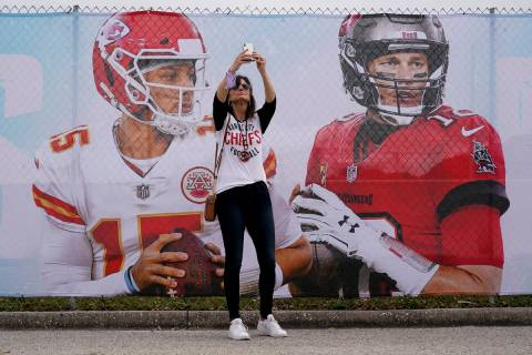 Kansas City Chiefs fan Tracey Brasabr takes a selfie in front of Raymond James Stadium ahead of ...