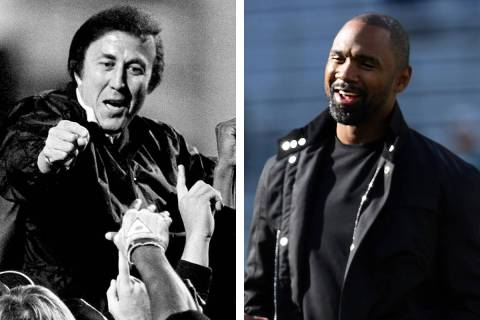 Raiders coaching legend Tom Flores, left, and defensive back Charles Woodson, right, were annou ...