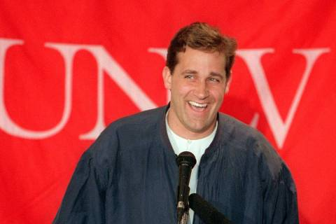 Coach Bill Bayno announces UNLV basketball signings April 18, 1996, in the Si Redd Room at the ...