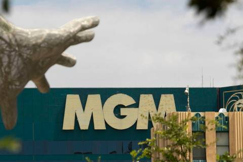 MGM Grand sign and the Bliss Dance statue at The Park photographed on Friday, Aug. 28, 2020, in ...