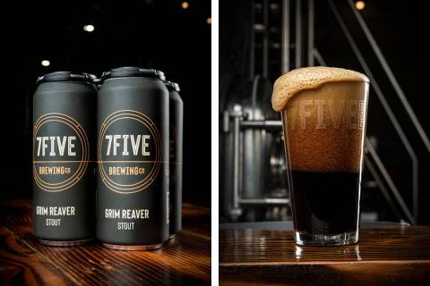 A four-pack and pint of Grim Reaver imperial stout. (7Five Brewing Co.)