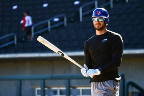 Chicago Cubs' Kris Bryant participates in batting practice at the Las Vegas Ballpark in Las Veg ...