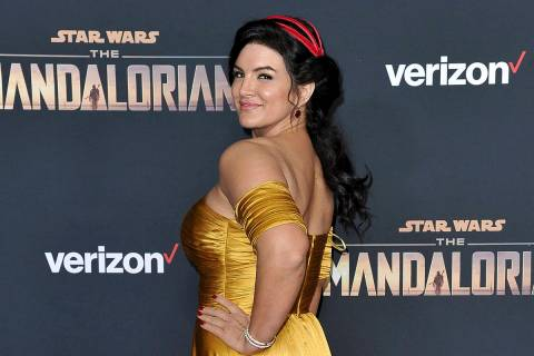 """In this Wednesday, Nov. 13, 2019, file photo, Gina Carano attends the LA premiere of """"The Manda ..."""