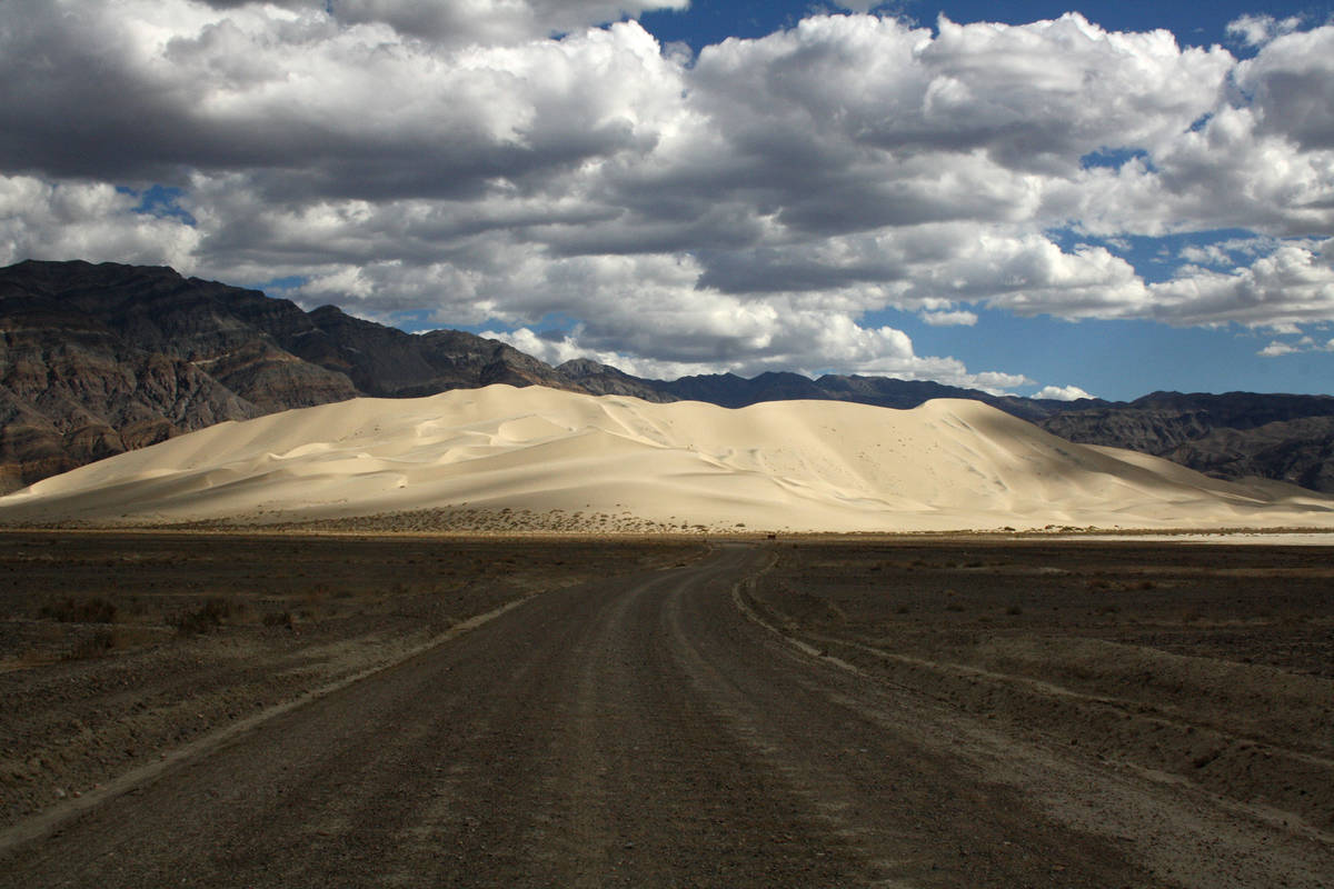 Eureka Dunes appear surreal against the backdrop of the Last Chance Mountains in Death Valley N ...