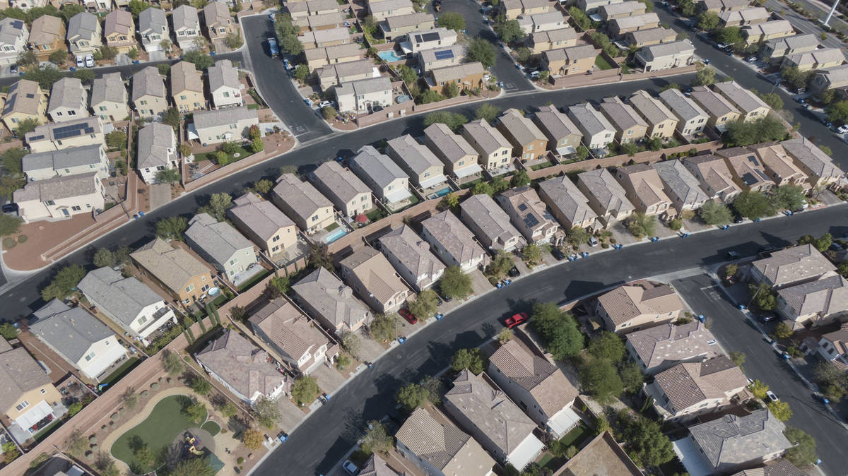 An aerial view of housing developments near Farm Road and Shaumber Road in Las Vegas on Monday, ...