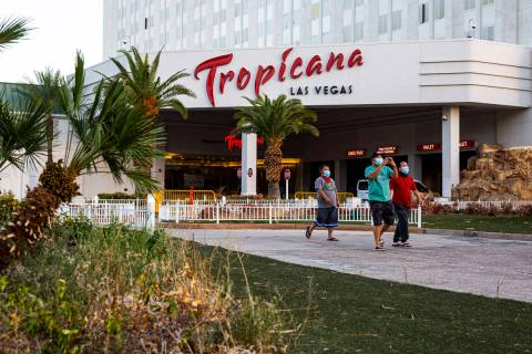 This July 7, 2020, file photo shows the Tropicana in Las Vegas. (Chase Stevens/Las Vegas Review ...