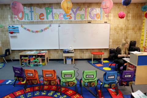 Teacher Adonna Miller prepare the special needs classroom at McDoniel Elementary School in Hend ...
