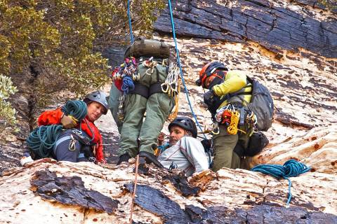 Metropolitan Police Department search and rescue lowers a climber to an extraction point after ...