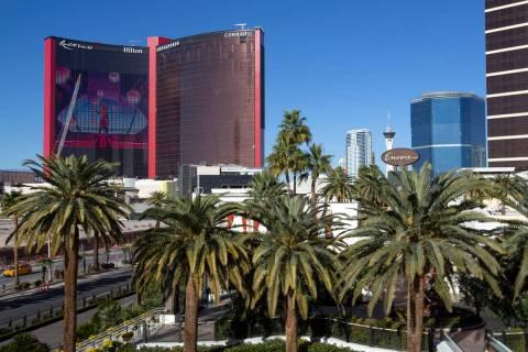 In this Feb. 5, 2021, file photo, Resorts World is under construction in Las Vegas. (Ellen Schm ...