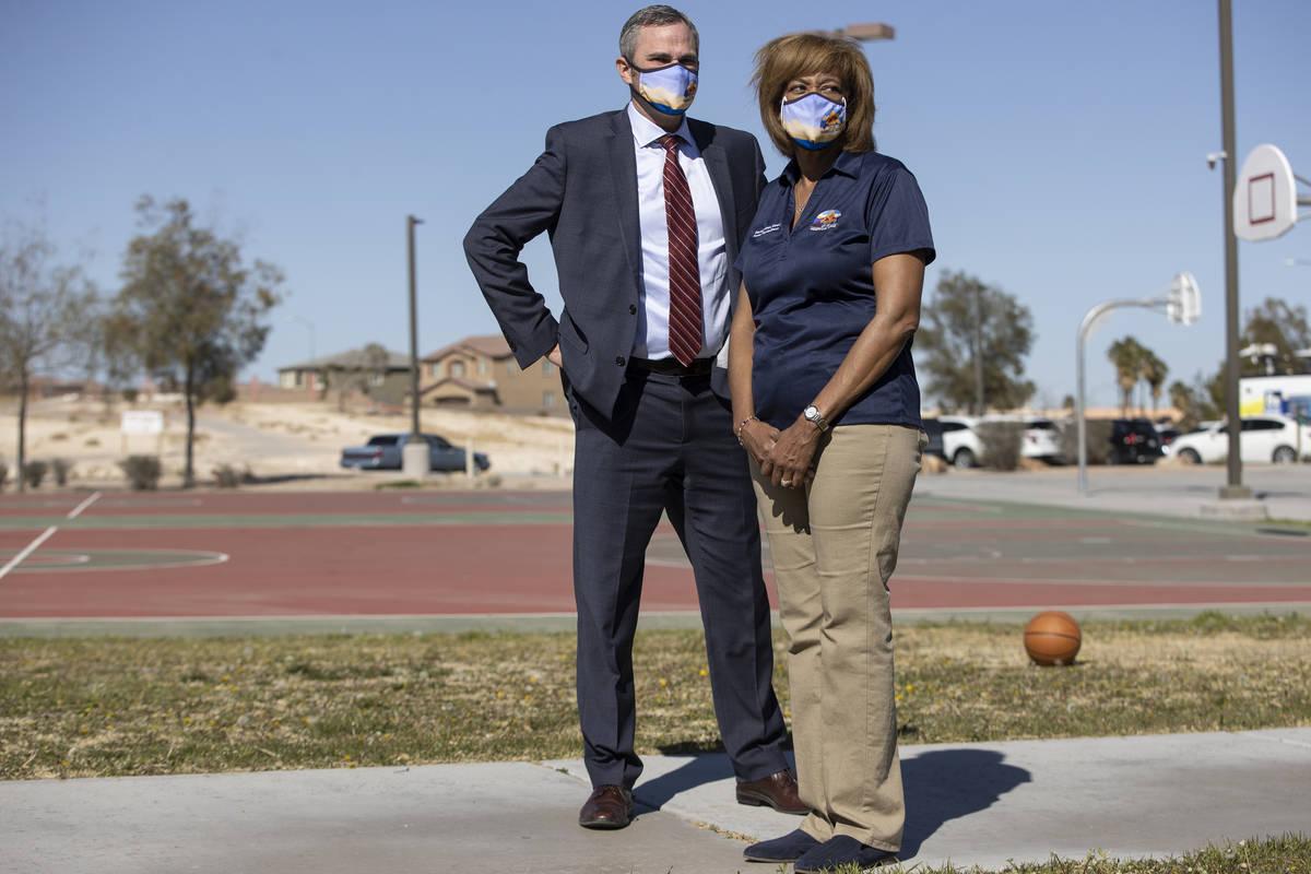 North Las Vegas City Manager Ryann Juden, left, and Councilwoman Pamela Goynes-Brown, participa ...