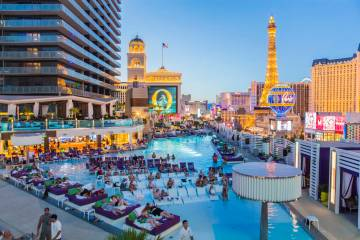 Dive-In Movies at Boulevard Pool at the Cosmopolitan Las Vegas on Monday, June 5, 2017. (Benjam ...