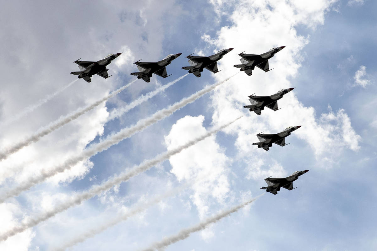 The Thunderbirds fly over Las Vegas on Monday, on Monday, Nov. 2, 2020, in Las Vegas. On Sunday ...