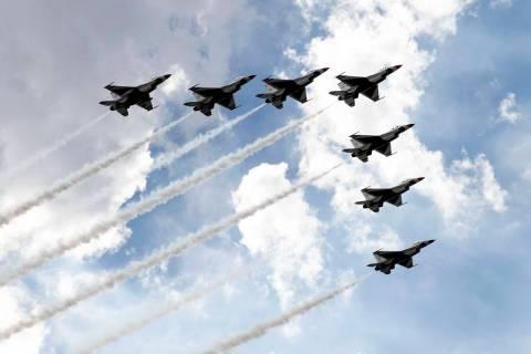 The Thunderbirds fly over Las Vegas on Monday, on Monday, Nov. 2, 2020, in Las Vegas. On Sunday ...