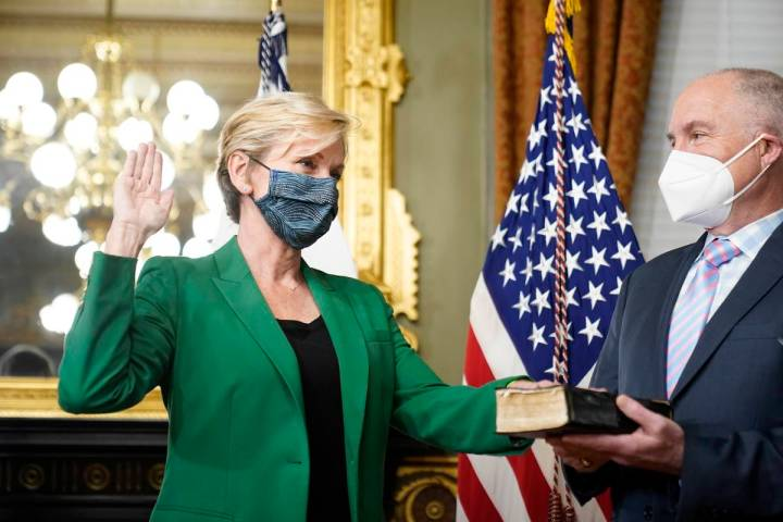 Former Michigan Governor Jennifer Granholm is sworn in as Energy Secretary by Vice President Ka ...