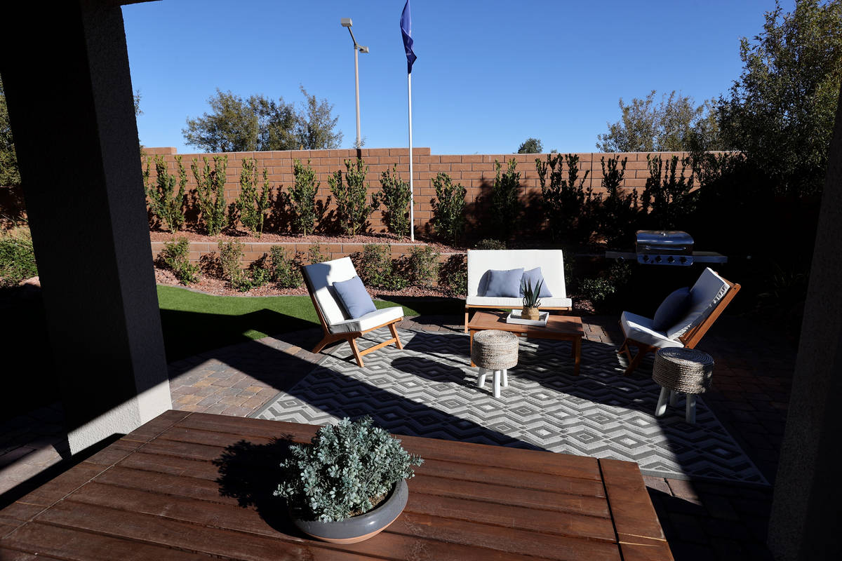 The back yard in the model home at the KB Home community of Stonegate in Las Vegas Thursday, Fe ...